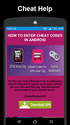 Download free Cheat Codes for GTA Vice City 1 0 6 APK for